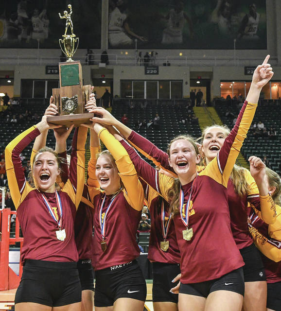 New Bremen players hoist the Division IV state championship trophy following the team's 3-1 win over Fort Loramie on Saturday at Wright State University's Nutter Center. The team, which has played in D-IV state title matches each of the last three years, will lose just three of its 15 players to graduation.