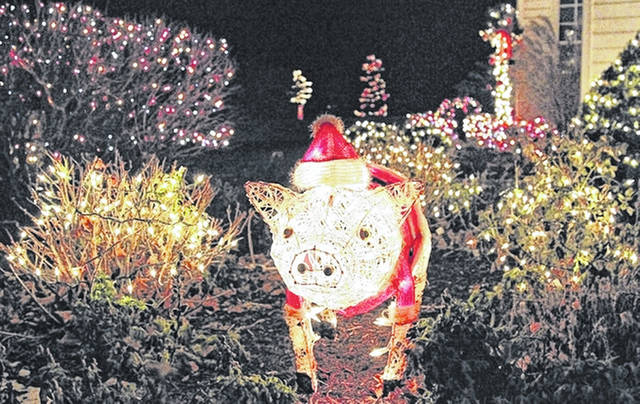A Christmas pig is part of the light display, pictured in December 2016, at the home of Tony Bornhorst located on Brandewie Road near Fort Loramie. Bornhorst has continued to increase the number of Christmas lights he hangs up to 37,000 lights.