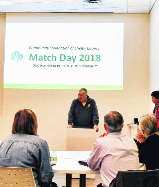 Dave Ross, of the Fort Loramie area, speaks at the 2018 Match Day celebration about why he is enthusiastic about the event.
