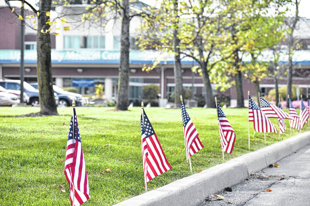 The driveways at Upper Valley Medical Center are being lined with red, white and blue to honor veterans and those currently serving in the military.