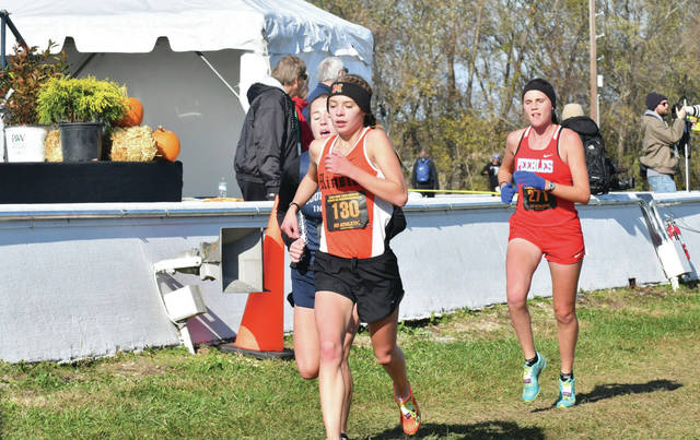 Minster's Mackenzie Bohman runs during the Division III girls race in the state cross country meet on Saturday in Hebron.