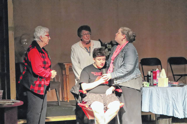 """Jackie Chamberlin, Adriana Shamblin, Wanda Huddleston and Niccole Amersdorfer rehearse for Sock & Buskin's upcoming fall production of """"Steel Magnolias"""". The production will open at the Historic Sidney Theatre on Thursday, Nov. 7 at 8 p.m. and run Friday, Nov. 8 and Saturday, Nov. 9 at 8 p.m. with a Sunday matinee performance beginning at 2 p.m."""