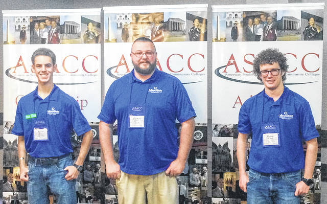 Edison State Student Senate representatives attend the American Student Association of Community College Leadership Conference in Nashville, Tennessee. Pictured, left to right, are Dylan Warren, Matthew Studebaker and Devan O'Connell.