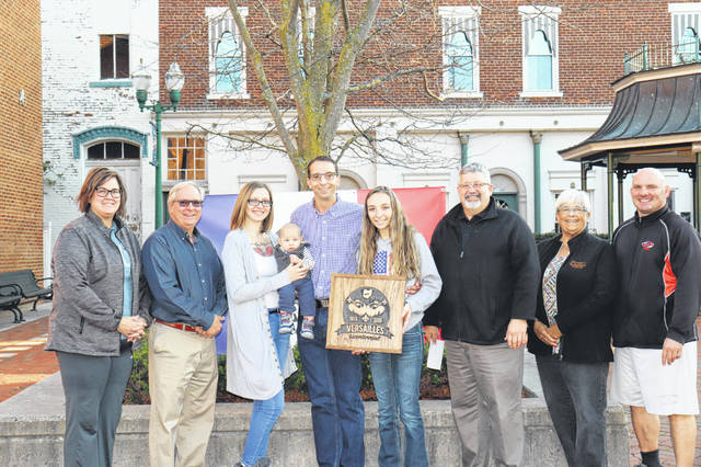 The Versailles Bicentennial Committee honored Theodore Jay as the youngest resident of the village on the 200th anniversary of the village's founding. Theo is also pictured with his parents, Tatiania and Russell Jay, and sister, Alexis Jay.