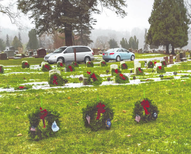 Wreaths decorated the graves of veterans buried at Graceland Cemetery, Sidney, in 2018. Ehis year's wreath laying program will be held Dec. 14.
