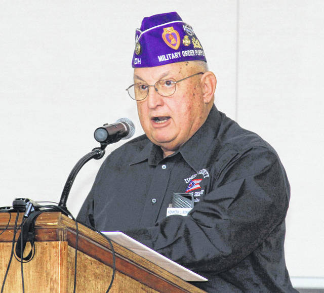 Retired Lt. Col. Kenneth L. Bonnell from Union County, Ohio, speaks to a capacity crowd at the 2019 Jackson Center Veterans Day Assembly held Wednesday, Nov. 13, in the High School gymnasium.