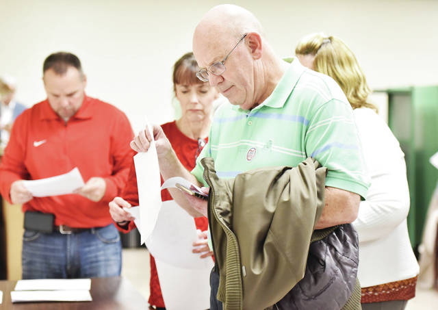Bill Ankney looks over results while running for the Sidney school board.