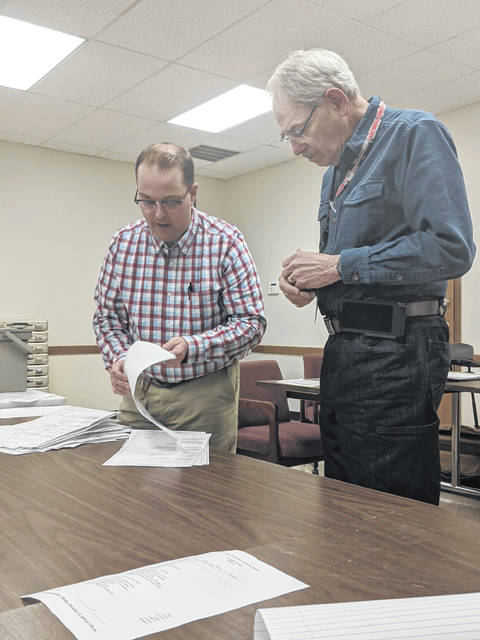 Shelby County Board of Elections Deputy Director Donnie Chupp, left, counts the provisional ballots which were approved during Monday's meeting while board member Merrill Asher looks on.