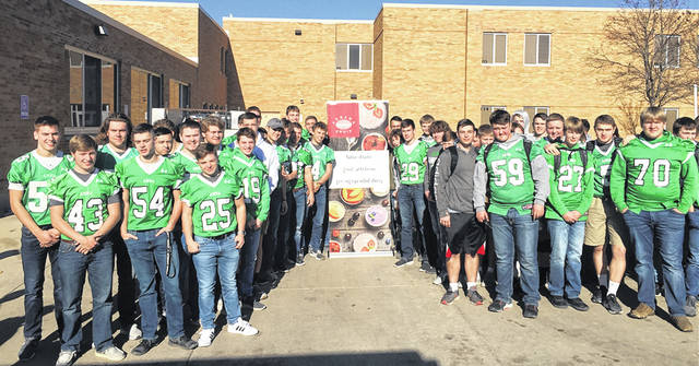 In recognition of the Anna High School football team advancing to the Ohio High School Athletic Association Division V state championship game, AGRANA Fruit US, Inc. donated 100 pizzas from Cassano's for the high school students' lunch Thursday. The Rockets play New Middletown Springfield at 10 a.m. Friday at Tom Benson Hall of Fame Stadium in Canton for the state championship.