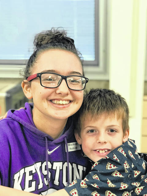 Big Buddy, Mackenzey Robinson, and Little Buddy, Markus Bryant, are matched together through Big Brothers Big Sisters' after-school Big Buddies program. Mackenzey is the daughter of Amber Robinson and the late Tim Robinson. Markus is the son of Heather Rinderle.