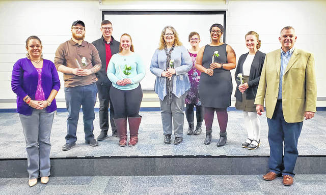 Pictured, left to right, are Erin Reese, assistant professor of biology; Brett Burnham; William Loudermilk, Phi Theta Kappa adviser and associate professor of English; Brittany Robbins; Rebecca Spencer; Beka Lindeman, Phi Theta Kappa adviser and assistant professor of English; Maurizia Harvey; Shelley Fisher and Paul Heintz, dean of arts and sciences.