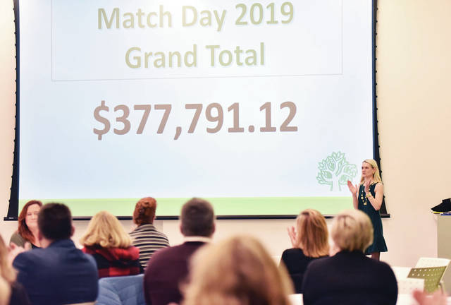 Donor Relations Director for the Community Foundation of Shelby County Jessica Fortkamp, of Sidney, reveals the grand total of money raised during the Match Day fundraiser. The celebration was held at the Amos Memorial Library Friday, Dec. 13.