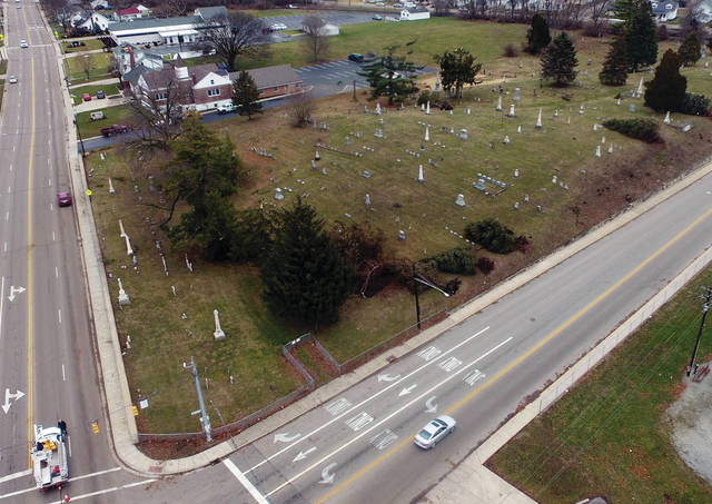 Several trees were uprooted in the cemetery at the Northeast corner of North Market and Staunton Road.,