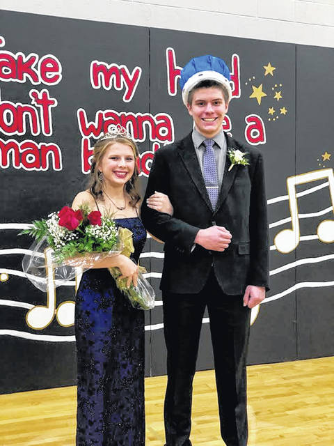 Russia High School held its homecoming activities the weekend of Jan. 24. Crowned queen was Clare Caldwell, daughter of Brian and Robin Caldwell, which the king was Andrew DeLoye, son of Ron and Pam DeLoye.