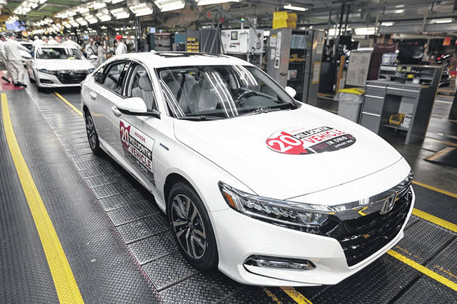 Honda's 20 millionth automobile in Ohio — a 2020 Platinum White Pearl Honda Accord Hybrid — rolled off the production line at the Marysville Auto Plant Monday.