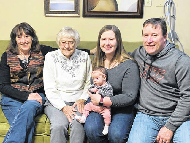 Five generations of the Cottrel family recently posed for a photo. They are, left to right, great-grandmother Polly Cottrel, of Conover, great-grandmother Jeanne Cottrel, of Pemberton, granddaughter Haley Hageman and great-granddaughter Eve Hageman, and grandfather Luke Vondenhuevel, all of Sidney.