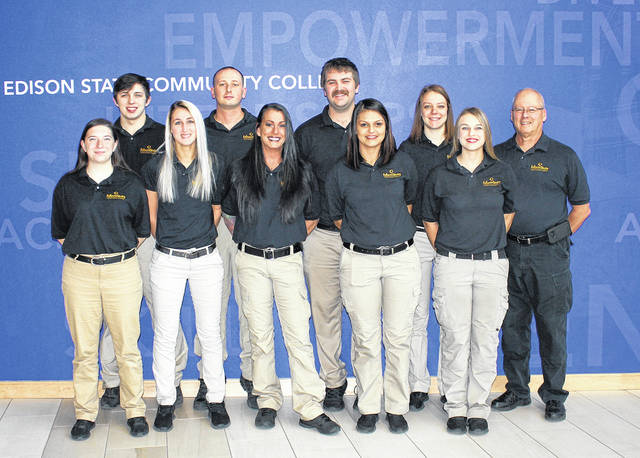 Nine students completed Edison State Community College's Peace Officer Academy in December. Pictured are, front row, left to right, Kristen Thomas, Ragan Williams, Dorothy Stringer, Marissa Kennedy, Amber Schutte, back row, left to right, Jacob Rife, Nathan Mahaffy, Elijah Sims, Reagan Morrett and Commander Joe Mahan.