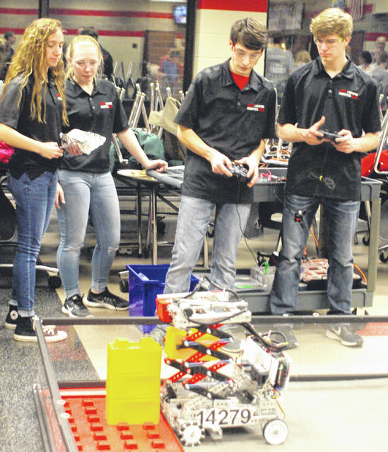 Fort Loramie sophomores, left to right, Anna Detrick, Lauren Bergman, Isiah Scheer and Jacob Sherman compete on the school's FIRST Tech Challenge team.