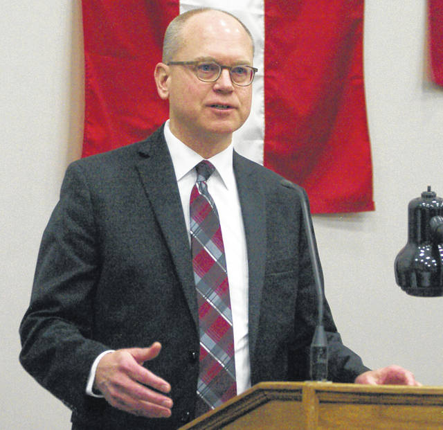 New Bremen Mayor Robert Parker speaks at the State of the Villages breakfast Thursday morning at First Church of New Knoxville in New Knoxville.