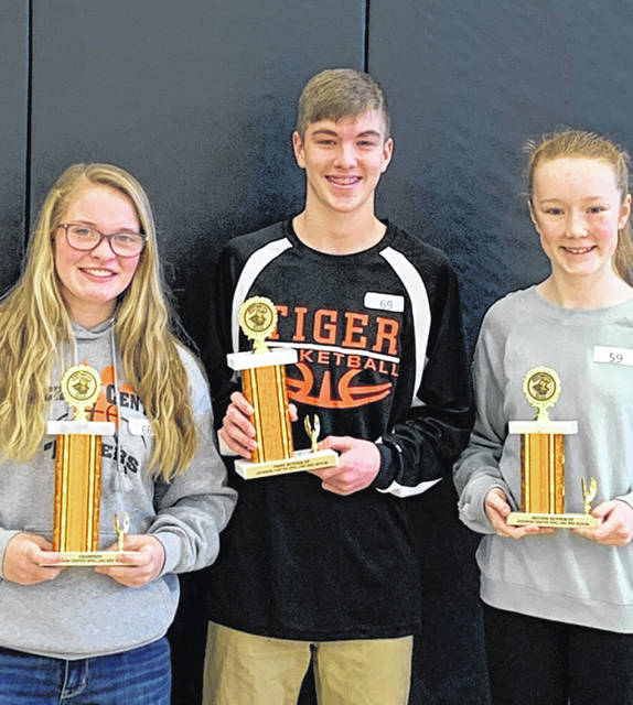 Jackson Center Spelling Bee winners, left to right, were Riley Barhorst, Lucas Hartle and Kathryn Prenger.