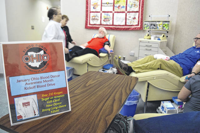 Donors help with the CBC Ohio Blood Donor Awareness Month Kickoff Blood Drive.