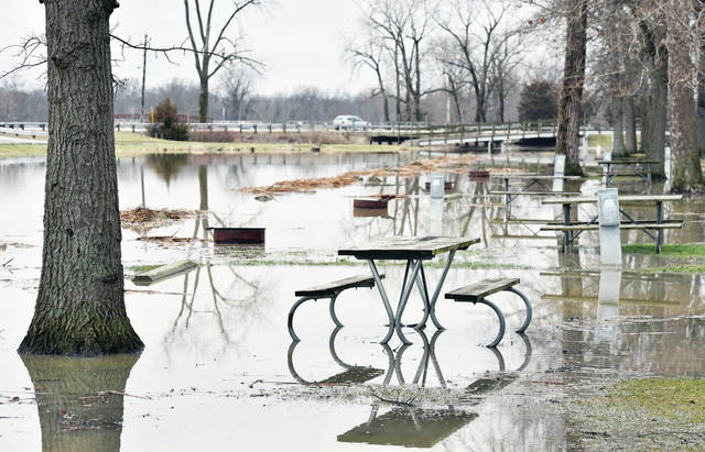 The Lake Loramie State Park campground suffered some minor flooding on Sunday, Jan. 12 after several days of rain. The Shelby County area did not get the higher amounts of rain that had been forecasted saving the area from any significant flooding.