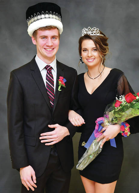 Elliot Goubeaux, 18, son of Mark and Diane Goubeaux and Kinley Topp, 18, daughter of Keith and Kindra Topp, were crowned Botkins homecoming king and queen on Friday, Jan. 10.
