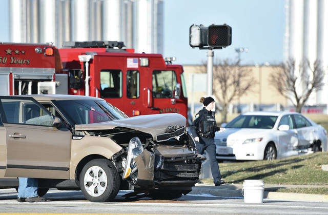 Sidney police and firefighters responded to a two vehicle crash at the intersection of Fair Road and 4th Avenue shortly before 4 p.m. on Wednesday, Jan. 22. No one was injured in the crash.