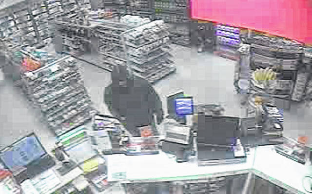 A male subject dressed in a black winter coat, light blue colored jeans with rips in the knees, a camouflage colored face mask and black brush type work gloves reportedly robbed the Speedway on St. Marys Avenue on Tuesday night.