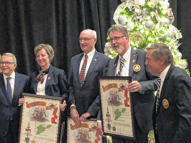 Tom Milligan, of Sidney, second from right, was inducted into the Executive Order of Ohio Commodores during its 2019 Annual Winter and Induction Meeting. The organization, founded by former Gov. James A. Rhodes in 1966, strives to assist the economic growth and development of Ohio.