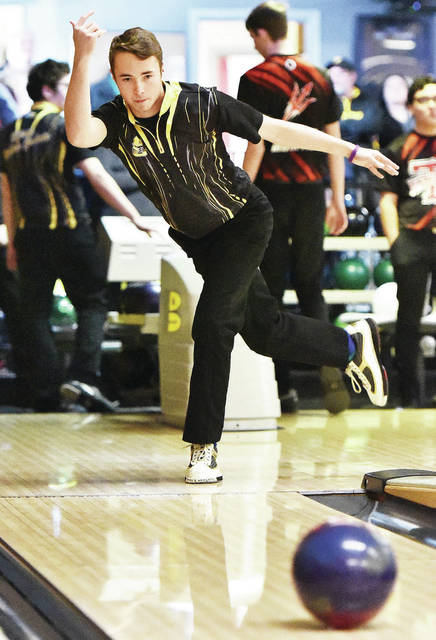 Sidney's Jaxon Rickey warms up before a Miami Valley League match against Tippecanoe on Feb. 7 at Troy Bowl in Troy. Rickey, who led the MVL with a 225 average, was a first team all-league selection.