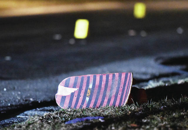 A skateboard located near the scene where a skateboarder was hit by a car on Arrowhead Drive