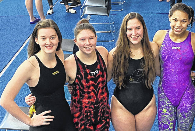 Sidney's Logan Frasure, Addison Payne, Lydia Brewer and Lily Watkins are the second alternate in the 400 yard freestyle relay for the Ohio High School Athletic Association Division I district swim meet at Miami University.