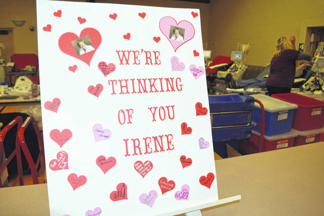 The St. Michael's Hall blood drive coordinated a get well card for Irene Boerger, former Community Blood Center account representative for Shelby County, at the blood drive on Feb. 18 in Fort Loramie.