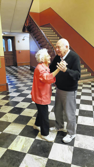 Jerry and Shirley Gibbs recently practicing their dance steps on the second floor of the Shelby County House