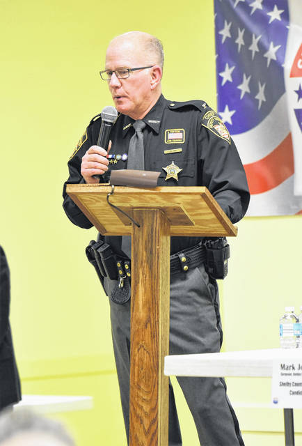 Shelby County Sheriff's Office Chief Deputy Jim Frye speaks during the Shelby County Republican Party Candidate Forum on Tuesday at the American Legion in Sidney.