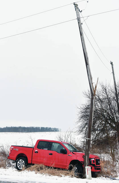 A pickup truck snapped a utility pole on the 11000 block of Fort Loramie-Swanders Road on the afternoon of Sunday, Feb. 9. The driver had minor injuries. The Fort Loramie Fire Department and Shelby County Sheriff's Office responded to the scene.