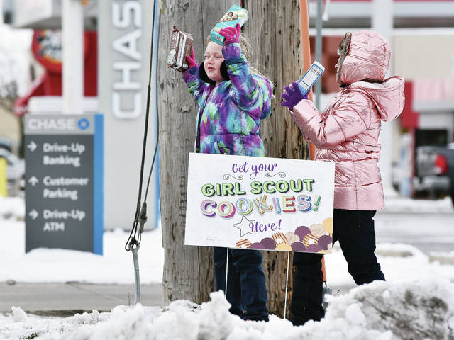 Girl Scout Daisy Troop 22122 members Madilyn Moorman, left, 6, daughter of Morgan Moorman and John Moorman Jr., and Emily Mabry-Miering, 6, both of Sidney, daughter of Terrie Mabry and Jessica Miering, shout to passing cars as they try to sell Girl Scout cookies from the parking lot of the Sunoco station on Wayfarer Lane. The girls will be selling cookies again at Walmart from 11 a.m. to 2 p.m. on Sunday, March 1.