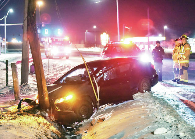 A car crashed into a utility pole snapping it shortly before 9 p.m. on Friday, Feb. 14. The crash occurred on Fair Road near its intersection with Vandemark Road. Sidney Police, the Sidney Fire Department and the Shelby County Sheriff's Office responded to the crash.