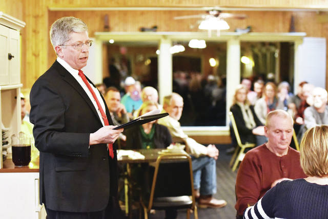 Sidney Municipal Court Judge Gary J. Carter talks about what his job entails during a speech at the 2020 Trustees and Clerk's Dinner at Hussey's Restaurant on Monday, Feb. 17.