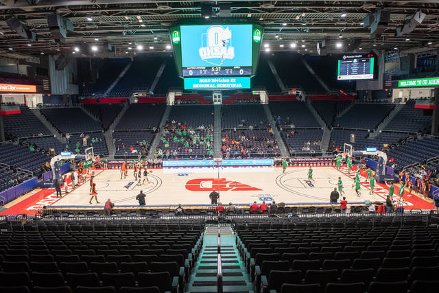 A view of University of Dayton Arena shortly before the tipoff of Anna's regional semifinal against Dayton Stivers. The teams played in front of about 250 spectators due to restrictions put in place by the OHSAA on March 10. The association announced on March 12 all tournament contests are indefinitely postponed and announced on Thursday it had canceled remaining winter sports tournament events.