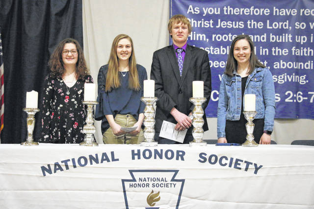 Christian Academy Schools National Honors Society members Emma Michael, Kylie Oglesby, Addison Morris, and Emma Abbott.