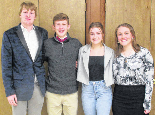 Pictured, left to right, are Addison Morris, a junior at Christian Academy; Maximillian Schmiesing and Lisa Adams, both juniors at Lehman Catholic High School; and Hannah Siegel, a senior at Fort Loramie High School. They were the top four finishers in the Shelby County Right to Life's annual Pro-Life Oratory Contest.
