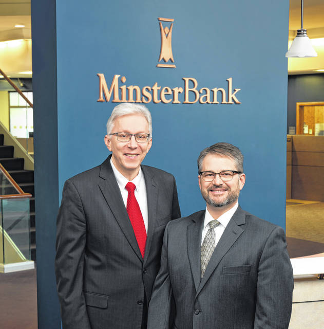 Ken Wuebker, left, current Minster Bank chief financial officer, will work with his successor, Clif Perryman, right, through the transition before Wuebker's upcoming retirement.