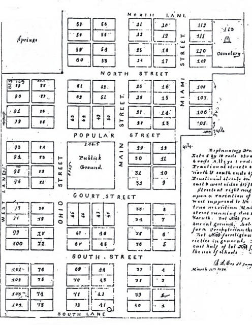 In 1819, the court appointed David Henry as director of the town of Sidney to create 113 lots for its formation. This is a map of the original town plot with numbers marking each lot location. Note, the center is saved for Publick Ground and at the far top right is the location of the town's first cemetery (later home to the former Bridgeview Middle School).