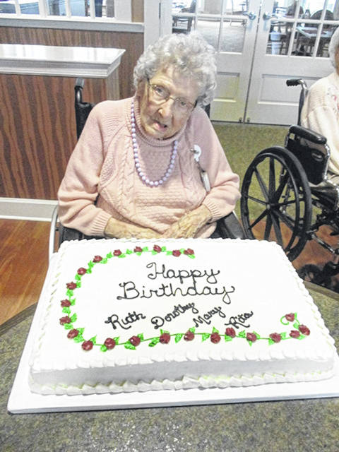 Ruth Moeller celebrates her 100th birthday with other residents at Elmwood Assisted Living in New Bremen who were born in February. Moeller was born Feb. 4, 1920 in Continental.