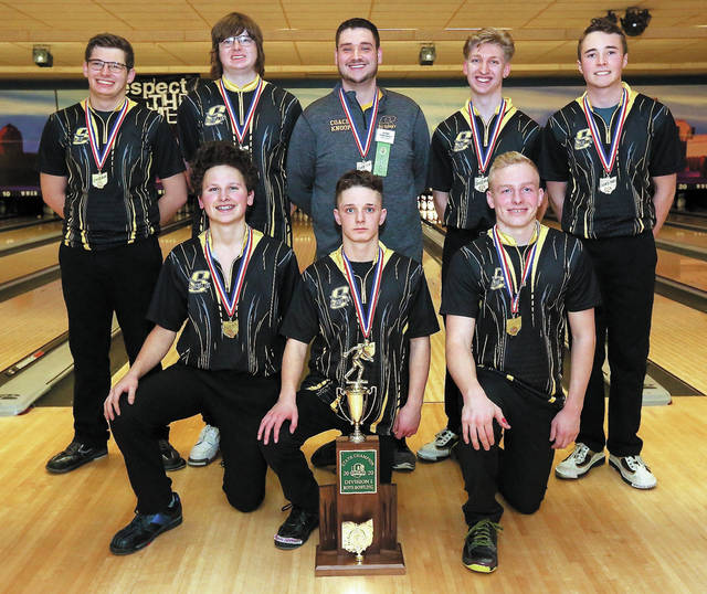 Sidney's boys bowling team poses for a team photo following the Division I state tournament on Friday in at Wayne Webb's Columbus Bowl. In the top row from left to right are Harrison Fisher, Brodey Morrow, coach Trent Knoop, Drake Cromes and Jaxon Rickey. In bottom row from left to right are Kaden Abbott, Jared Kirk and Logan Finke.
