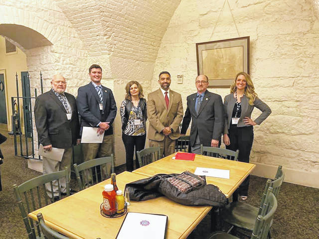 Tom Nizwonger, left to right, Champaign County; Joe Everett, Shelby County; Korie Slemmons, Logan County; Rep. Nino Vitale; Mike Bensman, Shelby County; and Lindsey Murphy, Champaign County, attended Ag Day programs.