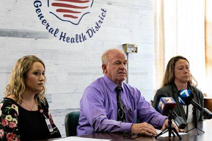 Dr. Terrance Holman was joined by members of his team at the Darke County Health Department to announce a Public Health Emergency.