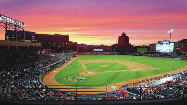A view of Canal Park in Akron on June 7, 2019, several hours after Minster's baseball team lost 1-0 to Hillsdale in a Division IV state semifinal. The start of spring sports was postponed in March due to the COVID-19 pandemic but the OHSAA is hoping to restart sports in May. The association released an updated spring sports schedule on Wednesday, which calls for baseball's state games to be played June 19-21.